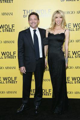 Jordan Belfort with a guest at the premiere of the film. Photo: Getty Images