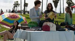 Bags of entertainment: Emma Watson, Israel Broussard, Katie Chang and Taissa Farmiga star in the movie 'The Bling Ring'