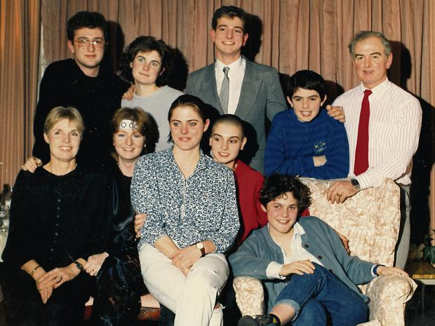 All together: The O'Connor-Suiter family in 1988, including Joseph (top left) and Sinéad (centre), on the day of the singer's first concert in the Olympic Ballroom