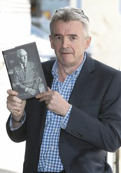 Michael O'Leary at the book launch in the Lir Theatre in the Trinity Technology Enterprise Centre yesterday