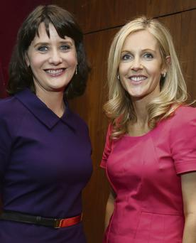 THE WRITE STUFF: Author Sinead Moriarty, right, with compere Keelin Shanley who said the awards demonstrate the vibrancy of the Irish literary community
