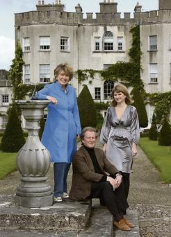Knight of Glin Desmond FitzGerald outside Glin Castle and with wife Olda and daughter Nesta