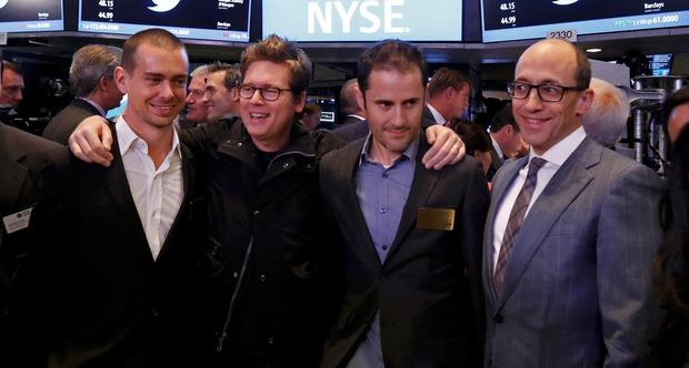 Twitter executives Costolo, Williams and Stone celebrate as Twitter IPO begins on the floor of the New York Stock Exchange