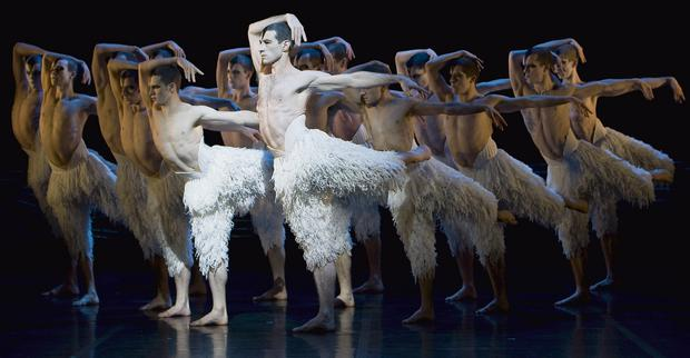GLIDE ON: Jonathan Ollivier performs as the swan in Matthew Bourne's production of Swan Lake.