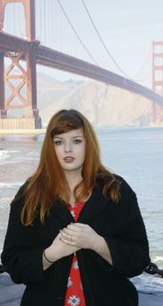 Holding back? Sarah Maria Griffin at the Golden Gate Bridge in San Francisco. Photo: Alan Leggit
