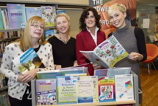 Pictured are from left: Miriam Leonard, Human Resources, Dublin City Librarian, Elaine Martin, HSE Senior Psychologist, Pamela Farrell, Senior Librarian Bibliotherapy and Sara Kelly, Assistant Psychologist HSE. Photo: Colm Mahady / Fennells.