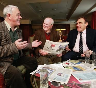 Hennessy Literary Awards judges Theo Dargan, Ciaran Carty and Peter Straus deliberate over the shortlist for the three category award winners at the Westin Hotel, Dublin. Ronan Lang/Feature File