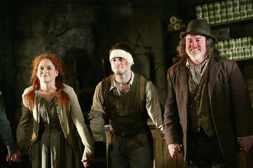 Sarah Greene, Daniel Radcliffe and Pat Shortt in the play.