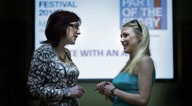PITCH: Dublin Writers' Festival organiser Vanessa O'Loughlin with aspiring author Rachel Collopy. Photo: David Conachy