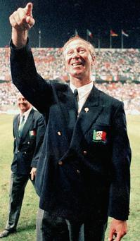 Jack Charlton in 1990 after qualifying for the quarter finals of the World Cup.