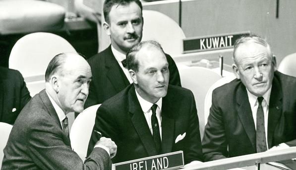 Frank Aiken, George Colley and Con Cremin at the UN in 1967