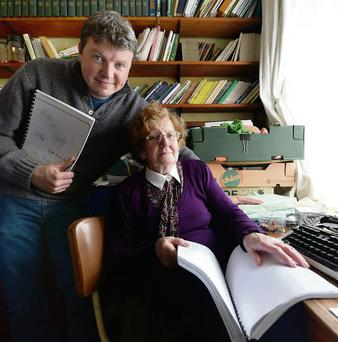 Literary history: Graham Clifford and Mary Keane in the study, Listowel, Co Kerry. Photo: Dominick Walsh.
