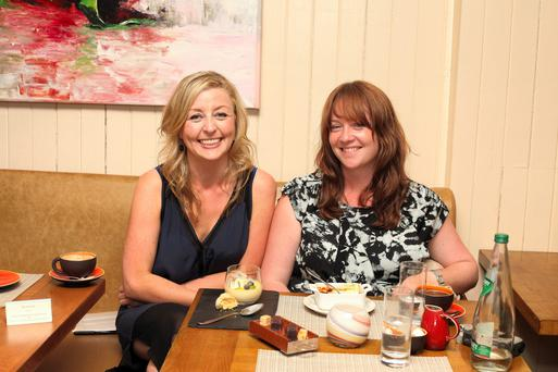 Break from rehearsals: Eimear McBride, right, meets Edel Coffey for dinner in Dublin