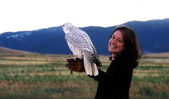 Taking flight: Helen MacDonald - who has just won the Costa Book Of The Year 2014 - with a gyrfalcon