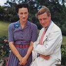 Wallis, Duchess of Windsor (1896-1986) and the Duke of Windsor (1894-1972) outside Goverment House in Nassau, the Bahamas, circa 1942.