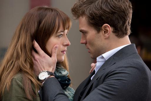 Jamie Dornan and Dakota Johnson in the film adaptation of Fifty Shades of Grey.