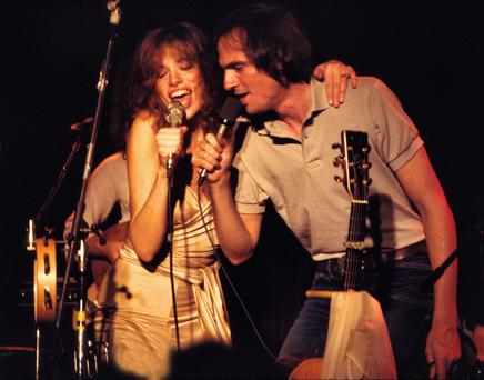 Carly Simon on stage with her former husband James Taylor in 1978.