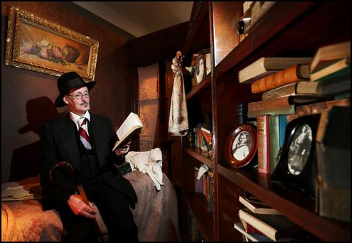 John Shevlin from North Great Georges Street dressed as James Joyce at the Joyce Centre during Bloomsday. Photo: Steve Humphreys