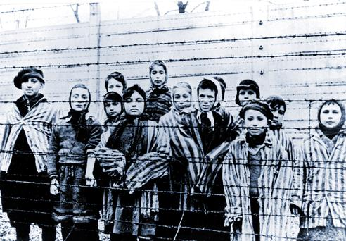 A picture taken just after the liberation of Auschwitz by the Soviet army in January 1945