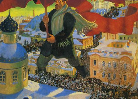 Detail from 'The Bolshevik' by Boris Mikhailovich Kustodiev, currently on display at the Royal Academy, London, as part of the 'Revolution: Russian Art 1917-1932' show, on loan from the Tretyakov Gallery, Moscow