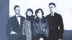 The Joyce family in Paris, 1924. Left to right: James, his future wife Nora, and their children Lucia and Giorgio