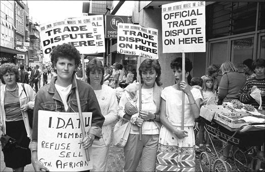 On the picket line: (l–r) Mary Manning, Michelle Gavin, Sandra Griffin and Alma Russell. Photo: Derek Speirs