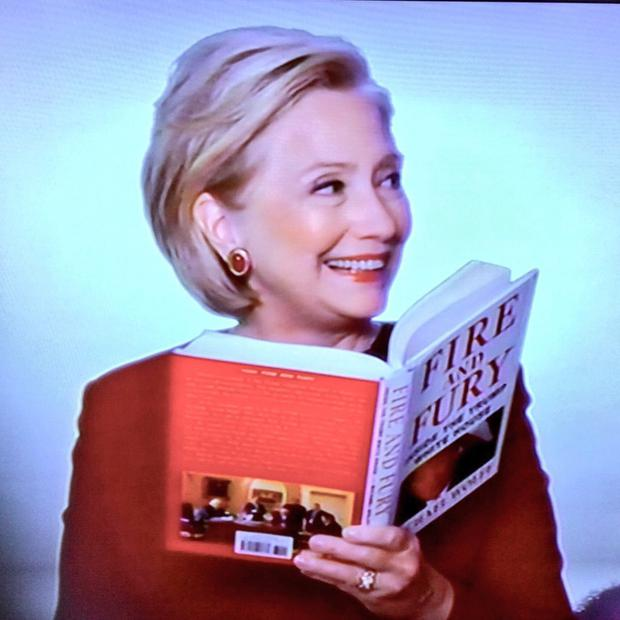 Hillary Clinton reading Fire and Fury