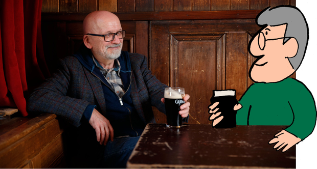 Two of a kind: Roddy Doyle and his character Charlie Savage enjoy a pint at Whelan's Bar in Dublin