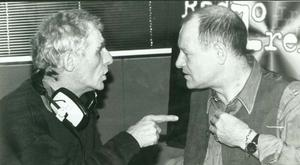 Snookered .... Eamon Dunphy, pictured having a frank exchange of views with Alex Higgins, didn't take prisoners on or off the field
