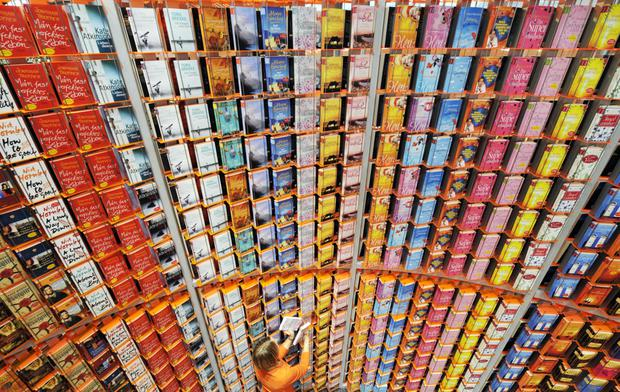 Write stuff: A wall of books at the Frankfurt book fair, where many deals about translated works are done
