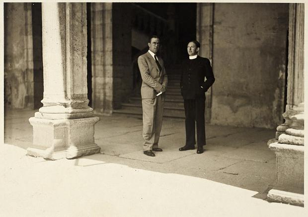 Fr Alexander J McCabe (right) with Otto Timm, head of the German press and propaganda department, in the Irish College, summer 1939. (Courtesy of the National Library of Ireland.)