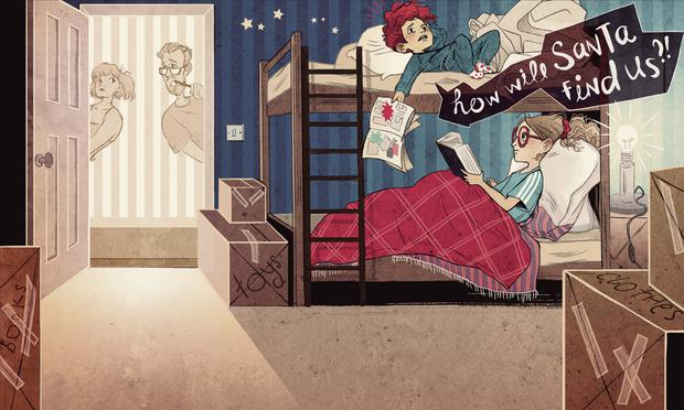 An illustrationby Lauren O'Neill for How Will Santa Find Us? by Shane O'Brien and Stephen Rogers
