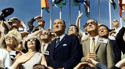Lyndon Johnson views the liftoff of Apollo 11 from the stands at the Kennedy Space Center in 1969