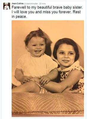 Joan Collins posted this image on Twitter of her and sister Jackie as young children