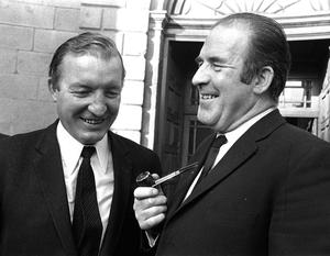 Charles Haughey and Neil Blaney at the Four Courts in Dublin during the Arms Trial in October 1970. Photo: Tom Burke