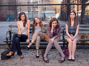 Lena Dunham, second right, in the hit TV series 'Girls'