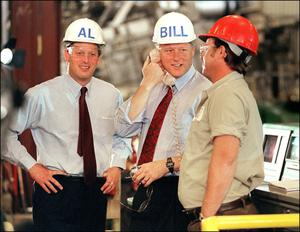 Bill Clinton and Al Gore on the presidential campaign trail in 1992. Photo: Getty