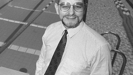 Double life: Former swimming coach George Gibney, pictured in 1989, presented an image of himself as a loving husband and father