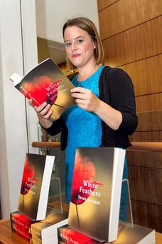 Susan Lanigan, at Dubray Book Shop, Grafton Street to launch White Feathers. Photo: Colm Mahady / Fennells