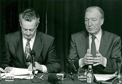 Charles Haughey and Des O'Malley during their period in coalition together in 1991. Haughey would resign the following year. Photo: Photocall