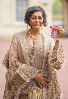 Honoured: Actress and author Meera Syal displays her CBE medal at a Buckingham Palace investiture a few weeks ago