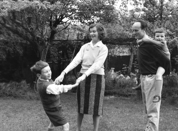 Suburban myth: A young Carlo Gebler is swung around by his mother, Edna O'Brien, while his father Ernest has his younger brother, Sasha, on his back.