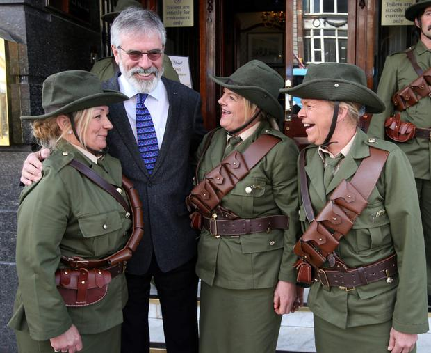 In good company: Gerry Adams at at the launch of the Sinn Féin O'Donovan Rossa event as part of the 1916 Centenary.