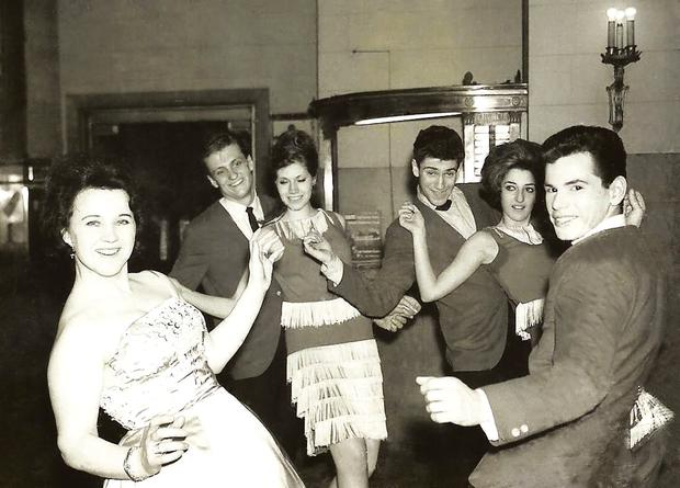 Dance hall: Bridie (front left) dancing the twist with the club's professional dancers at New York's Peppermint Club in 1960
