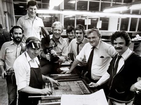 Stone age: Editor Tim Pat Coogan (second from right) oversees the final adjustments to the Irish Press 50th anniversary supplement in September 1981.