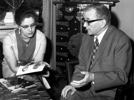 Music man: Russian composer Dimitri Shostakovich chats with his wife during a visit to Berlin in 1972.
