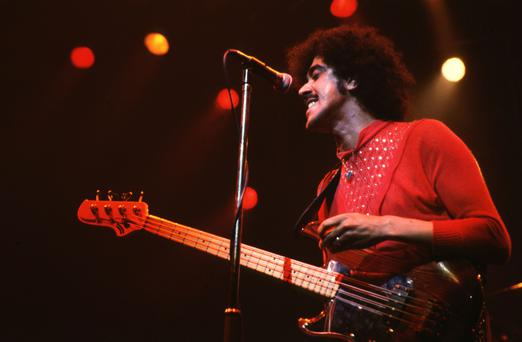 Long-legged black 'orphan': Lynott on stage in 1984, two years before his death at the age of 36.