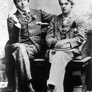 Irish dramatist Oscar Wilde (1854 - 1900) with Lord Alfred Douglas (1870 - 1945)