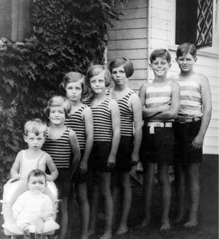 The Kennedy clan: From right, Joe Jr, Jack, Rosemary, Kick, Eunice, Pat, Bobby and baby Jean.