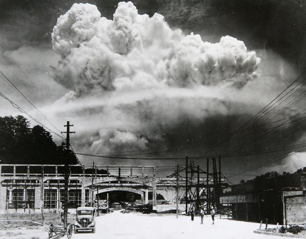 Facing execution: The atomic bomb dropped on Nagasaki City, seen here from 9.6km away in Koyagi-jima, Japan, saved the life of Irish POW Aidan MacCarthy, who was imprisoned nearby